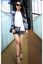 blue printed Zara blazer - black patent Yves Saint Laurent bag