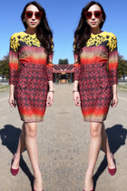 Topshop dress - ruby red Miu Miu sunglasses