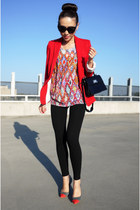 red romance was born t-shirt - black Zara leggings - red Zara blazer