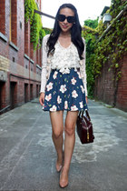 blue floral print Topshop skirt - crimson leather Prada bag