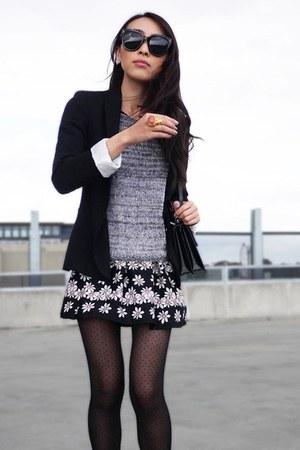 dark gray daisy print Topshop dress - heather gray knitted Witchery sweater