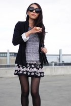 dark gray daisy print Topshop dress - heather gray knitted Witchery sweater