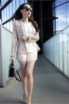 white Zara top - light pink feathers Zara skirt - beige sequins Zara cardigan