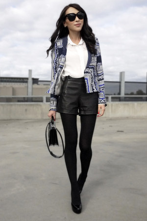 black leather Forever New shorts - blue printed Zara blazer