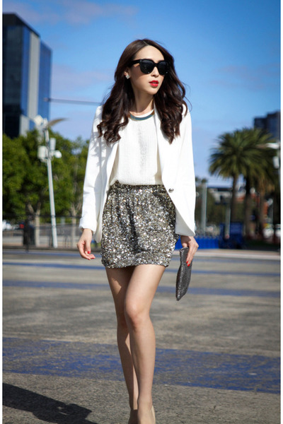 light yellow sequins Forever New skirt - ivory fitted Zara blazer
