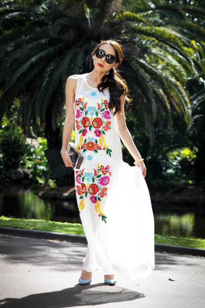 white printed alice mccall dress - black Celine sunglasses
