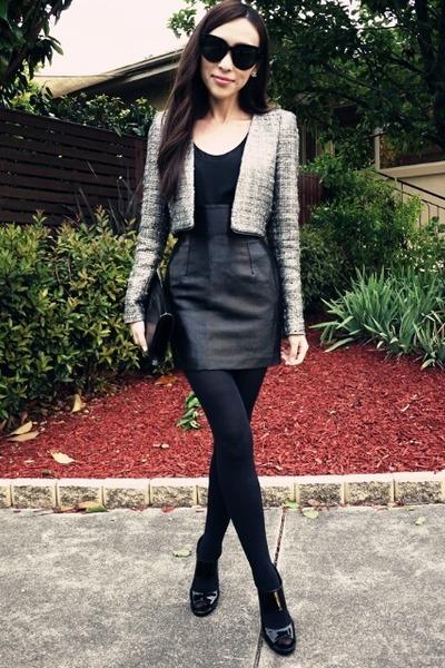 heather gray cropped Zara blazer