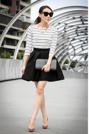black asos skirt - black patent YSL bag - white striped Marcs t-shirt