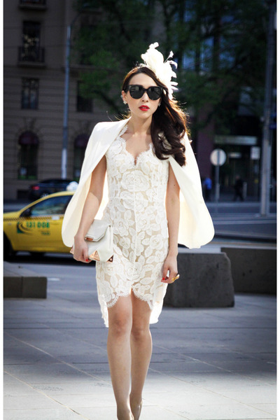 white lace Lover dress - white Zara blazer - black Celine sunglasses