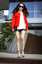 red tweed Zara jacket - black patent Yves Sain Laurent bag