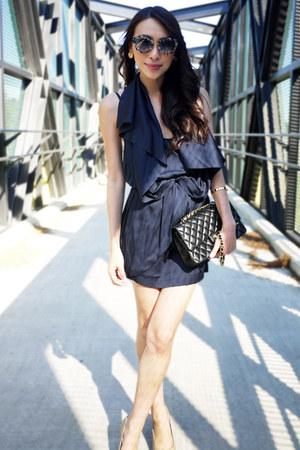 navy Camilla & Marc dress - black leather Chanel bag