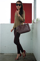 gold knitted Zara sweater - crimson Topshop jeans - crimson leather Prada bag