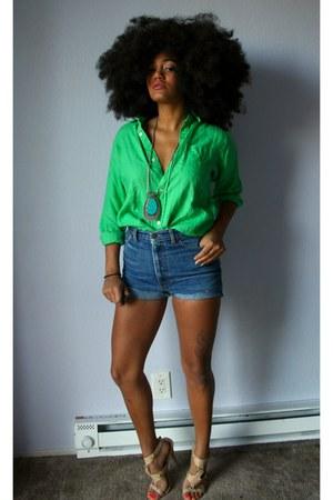 beige Goodwill sandals - blue diy Goodwill shorts - chartreuse Goodwill blouse