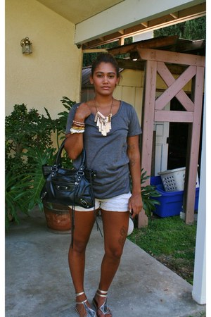 silver shoes - gray shirt - black bag - white thrift shorts - gold accessories