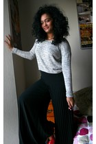 silver unknown sweater - black unknown pants