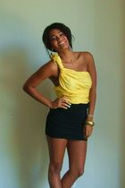 yellow H&M blouse - black Forever21 skirt - gold alameda fair earrings
