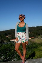 off white skort Goodwill shorts - teal Goodwill top - bubble gum TJ Maxx wedges