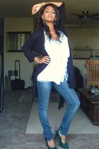 blue H&M jeans - green Nine West shoes - white Forever21 blouse - gray Forever21