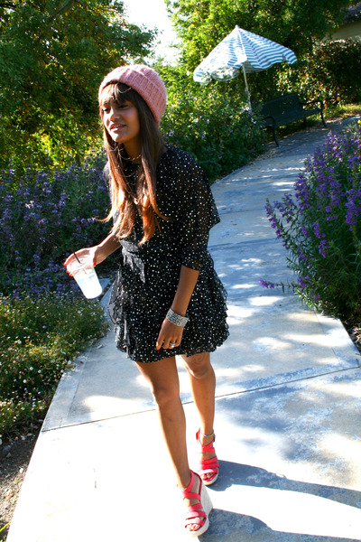 black Thrift Store dress - bubble gum Forever 21 hat