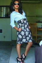 black Goodwill skirt - blue H&M blouse - silver Claires earrings - black Goodwil
