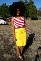 red striped Goodwill blouse - black Goodwill heels - yellow Goodwill skirt