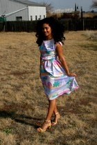 periwinkle bow back Salvation Army dress - nude Goodwill sandals