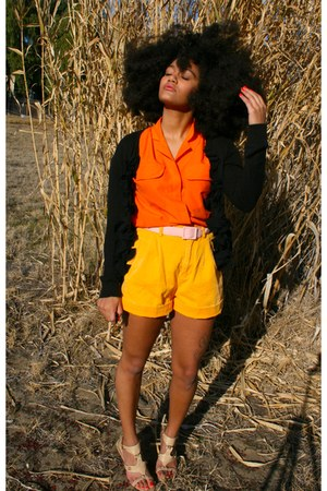 carrot orange Goodwill shirt - gold Goodwill shorts - black Target cardigan