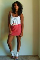 red Goodwill skirt - white Forever 21 blouse - white Goodwill accessories - silv
