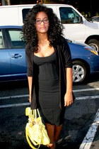 black Goodwill dress - yellow Goodwill bag - black TJMaxx cardigan