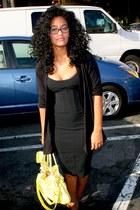 black Goodwill dress - yellow Goodwill bag - black TJMaxx cardigan