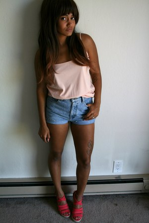 sky blue Thrift Store shorts - light pink Thrift Store blouse
