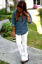white wide leg i forgot jeans - teal Goodwill blouse