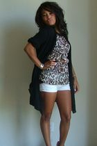 brown unknown blouse - black H&M cardigan - white Goodwill shorts - silver Goodw