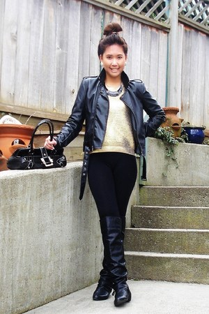 knee-high boots Spring boots - leather jacket - H&M sweater - Guess purse