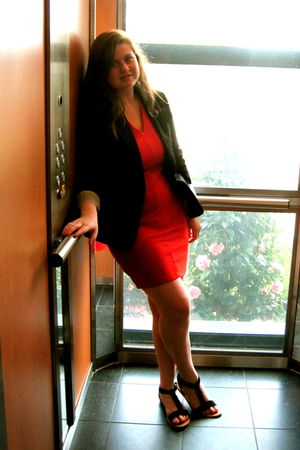 red asos dress - black brick lane market blazer - black Urban Outfitters shoes
