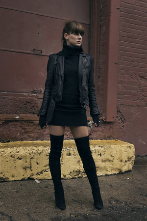 black Zara jacket - Zara boots - black ruelle dress - black Diesel gloves