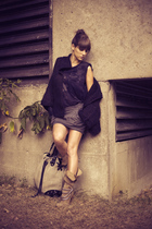 Zara sweater - Zara top - Zara skirt - Zara boots - Diesel gloves