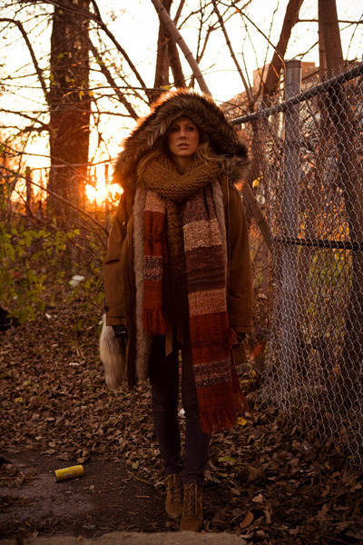 camel Mango jacket - brick red Zara scarf - camel Zara scarf - puce Urban Outfit