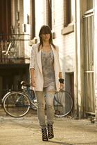 gray Miss Sixty top - black Aldo shoes - gray vintage jeans - pink Zara blazer