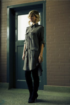 charcoal gray barila dress - black Henry Holland tights - black Zara boots - gol