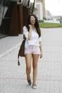 White-mango-shirt-brown-dressin-bag-light-pink-mango-shorts