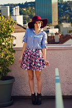 bubble gum floral Forever 21 skirt - dark brown on repeat boot modcloth boots