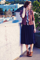 navy JCrew dress - maroon tweed kohls blazer - light purple paisley random brand