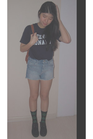 Underground sandals - backpack bag - denim Zara shorts - huf socks