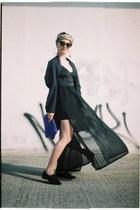 oversized thrifted jacket - leather Zara shoes - transparent H&M shirt