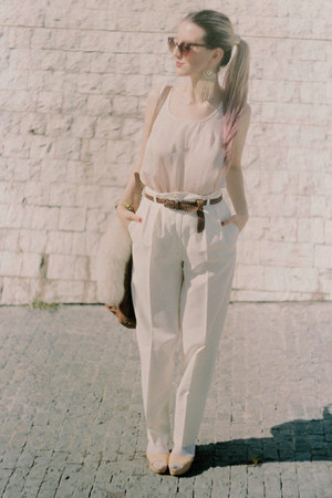 white high waisted thrifted vintage pants - bronze suede Zara bag