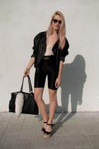 black leather biker vintage jacket - black leather vintage bag