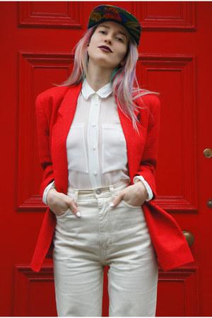 red woven silk vintage blazer - camel lita-inspired Ebay boots