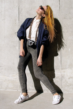 navy silk vintage jacket - navy golden Primark leggings