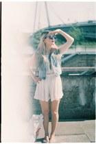 denim H&M vest - crushed velvet vintage shorts - asos bodysuit - H&M flats